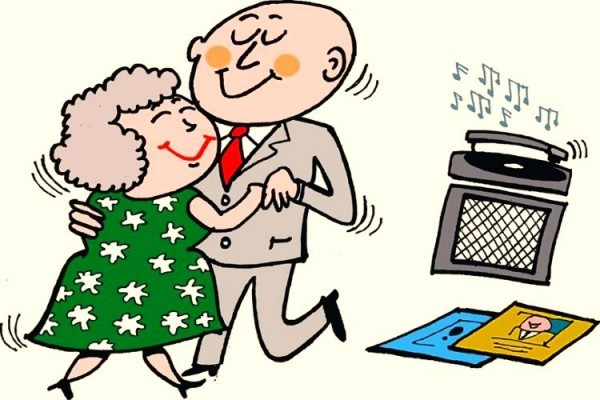cartoon of mature age couple dancing