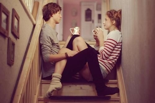 a girl and a boy talking