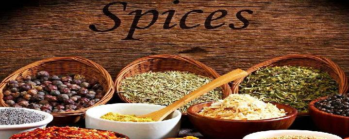 Spices on Wood Table