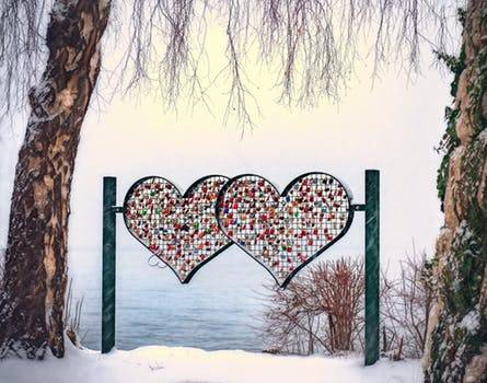A fence with Two large heart design