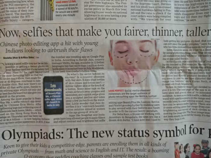 News paper article on selfies and beauty apps