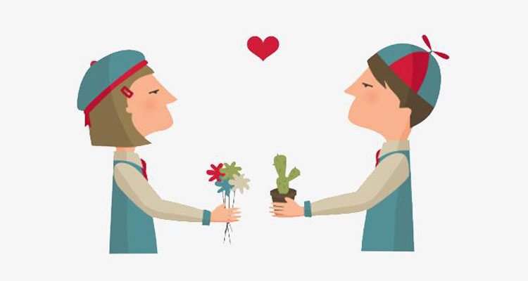 Couple giving flowers