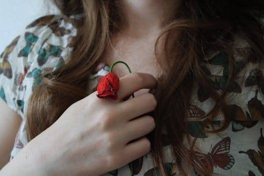 rose in a womans hand