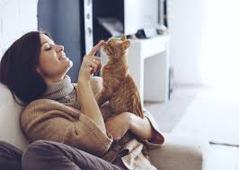 single girl with cat