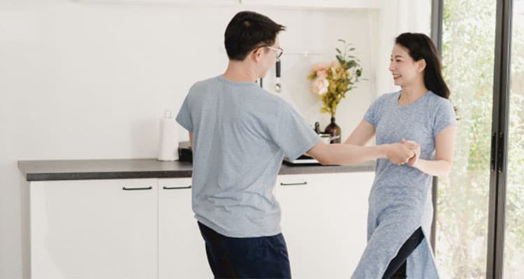 Couple listen to music and dancing