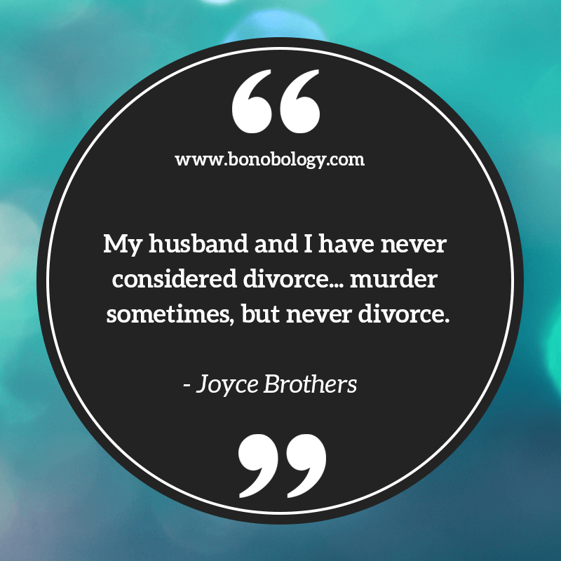 Joyce Brothers on divorce and murder