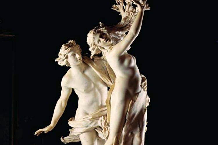 White statue of Apollo and Daphne