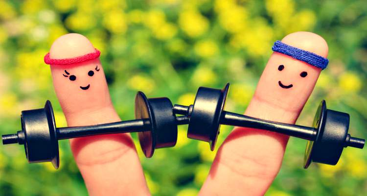 Finger art of happy couple exercising