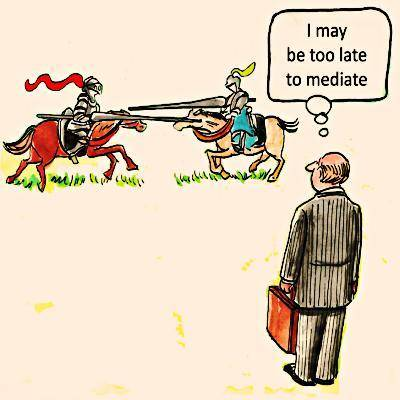 Lawyer thinking it is too late to mediate in a duel