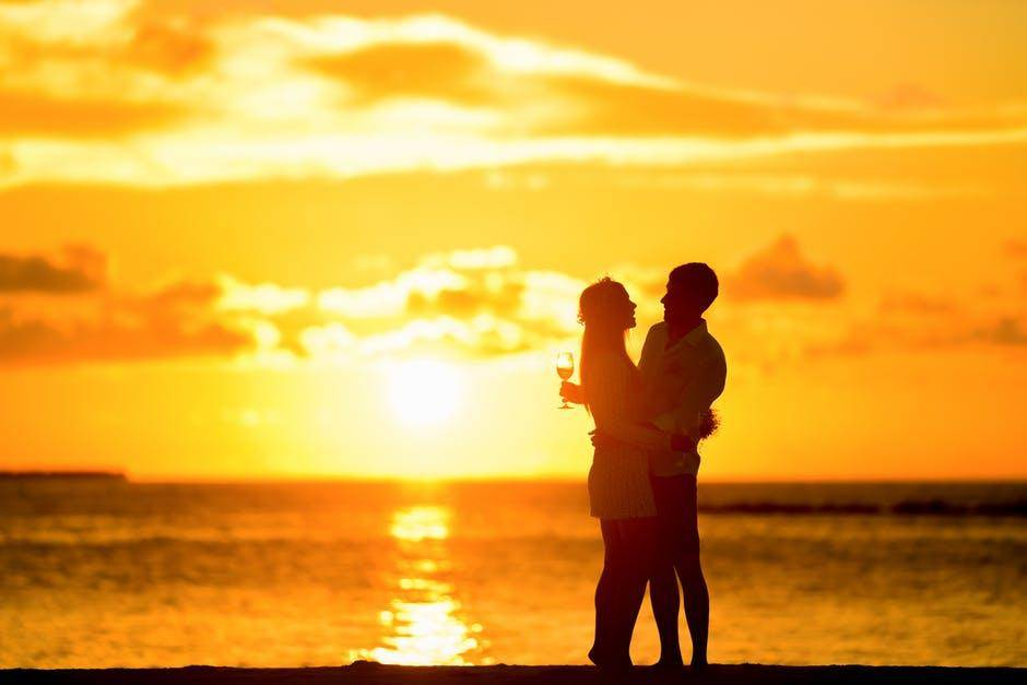 couple , sunset, wine glass