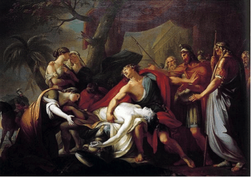Achilles Lamenting the Death of Patroclus (1760-1763) by Gavin Hamilton