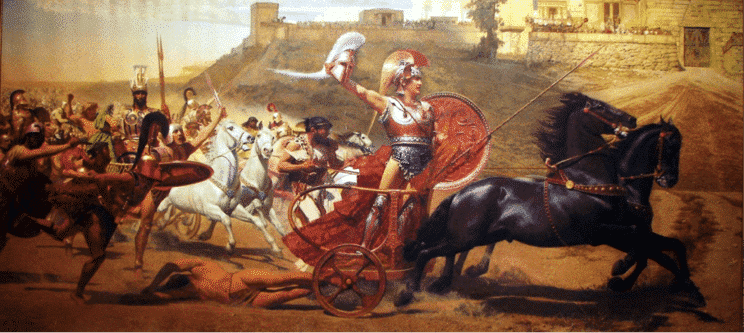 Triumphant Achilles dragging Hector's lifeless body in front of the Gates of Troy