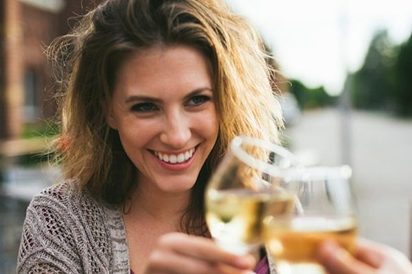 Woman drunk with wine