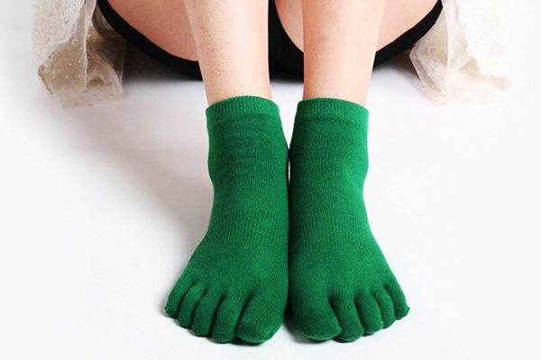 girl in green socks