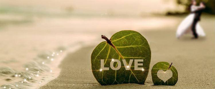 Love leaf on beach