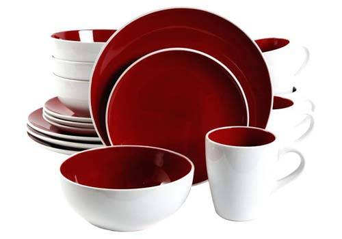 crockery red and white