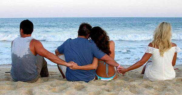 Couples at a beach