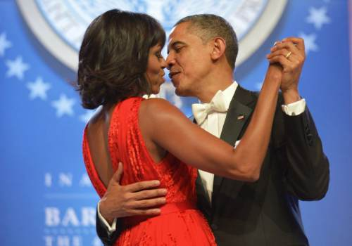 obama and michelle dancing together