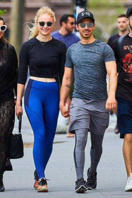 Sophie Turner walking with her fiance