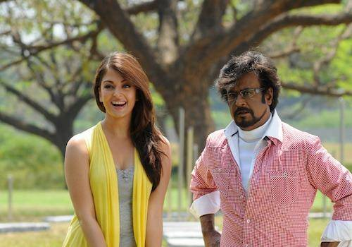 Aishwarya with rajnikant