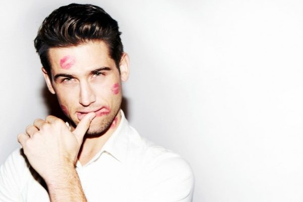 Men With kisses on his face