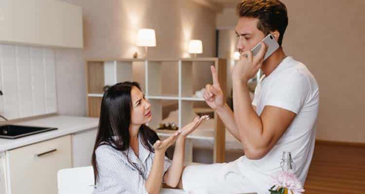 Woman waiting for husband's phoned