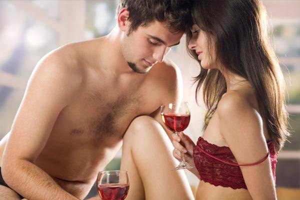 couple having great sex and wine