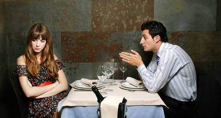 Man talking too much on his first date