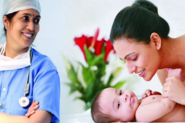 Mother, gynaecologist and baby