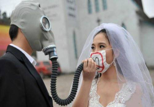 couple wearing a mask