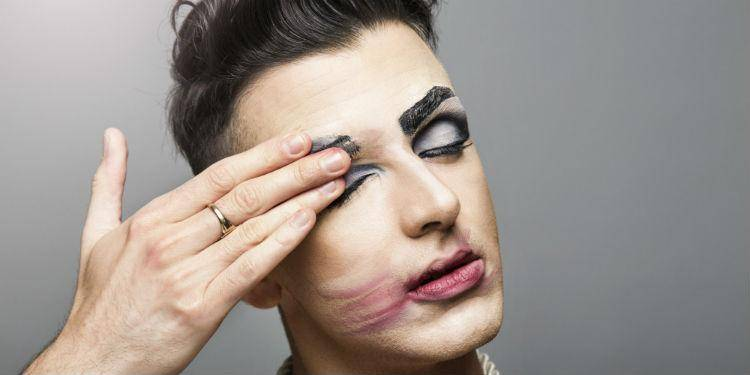 Gay man with make up