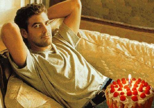 george_clooney with cake