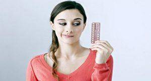 lady worried with contraceptive pills