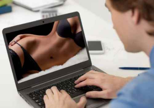 man watching sexy lady on laptop