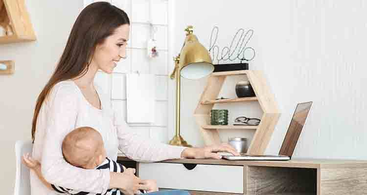 working woman with child