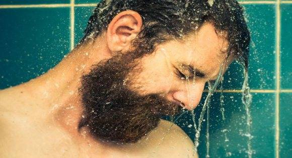 wet man with wet beard