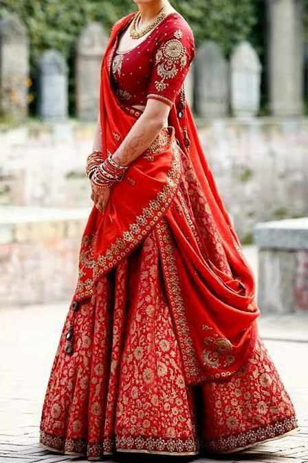 Bridal red silk lehenga