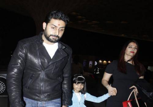 abhishek with aradhya and aishwarya