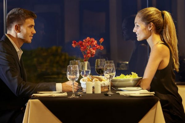 Couple at dining table
