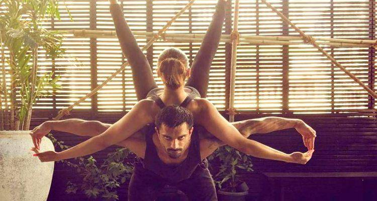 karan singh and bipasha doing yoga