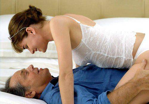 lady with old man in bed