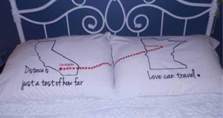 pillow showing long distance relationship
