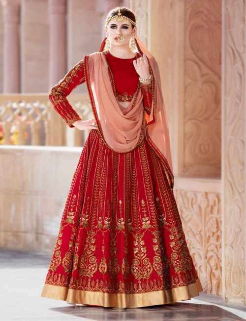 reddish golden bridal lehenga