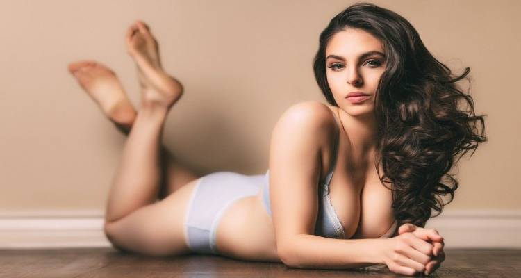 sexy lady lying on floor