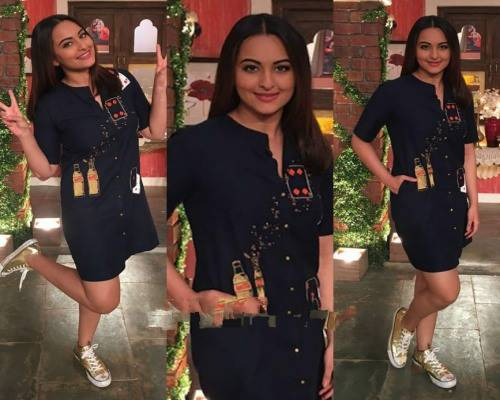 sonakshi in shirtdress