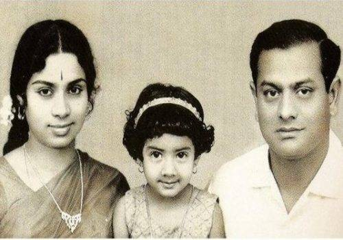 sridevi with her mother and father