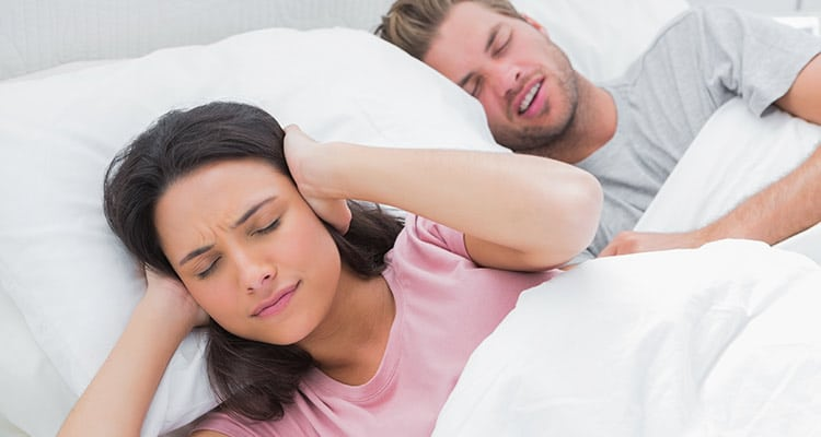 Wife can't sleep while husband snore