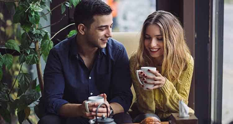 Couple in coffee shop