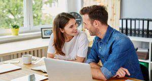 Couple spend time together in office