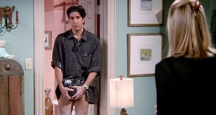 The fashion faux-pas of Ross' leather pants. Ross' New Year resolution to wear hot, leather pants on a hot date takes a nasty turn.